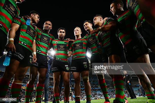 Rabbitohs captain John Sutton speaks to his players in a huddle after the First Preliminary Final match between the South Sydney Rabbitohs and the...