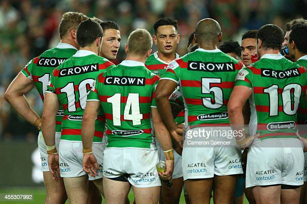 Rabbitohs captain John Sutton talks to his team after winning the NRL 2nd Qualifying Final match between the Manly Sea Eagles and the South Sydney...