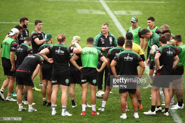 Rabbitohs coach Anthony Seibold talks to players during a South Sydney Rabbitohs NRL training session at Redfern Oval on September 5 2018 in Sydney...