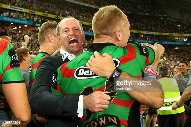 Rabbitohs coach Michael Maguire celebrates winning after the 2014 NRL Grand Final match between the South Sydney Rabbitohs and the Canterbury...