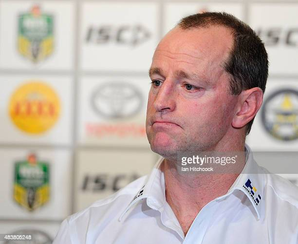 Rabbitohs coach Michael Maguire looks on at the post match media conference at the end of during the round 23 NRL match between the North Queensland...
