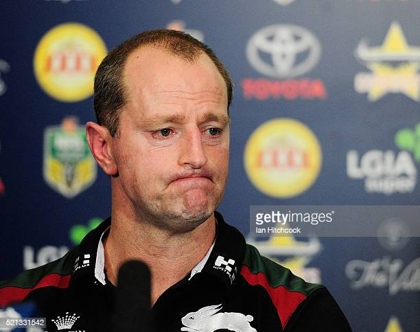 Rabbitohs coach Michael Maguire looks on at the post match media conference at the end of during the round seven NRL match between the North...