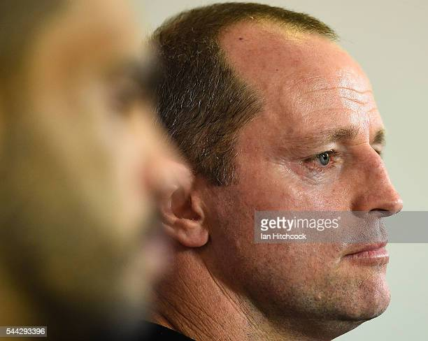 Rabbitohs coach Michael Maguire looks on at the post match media conference at the end of during the round 17 NRL match between the South Sydney...