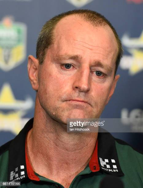 Rabbitohs coach Michael Maguire looks on at the post match media conference at the end of during the round five NRL match between the North...