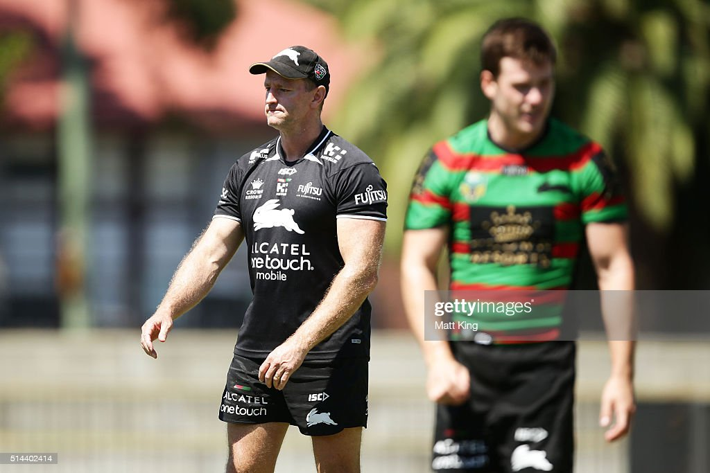 Rabbitohs coach Michael Maguire looks on during a South Sydney Rabbitohs NRL training session at Redfern Oval on March 9, 2016 in Sydney, Australia.