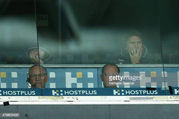 Rabbitohs coach Michael Maguire looks on from the coaches box during the round 14 NRL match between the Wests Tigers and the South Sydney Rabbitohs...