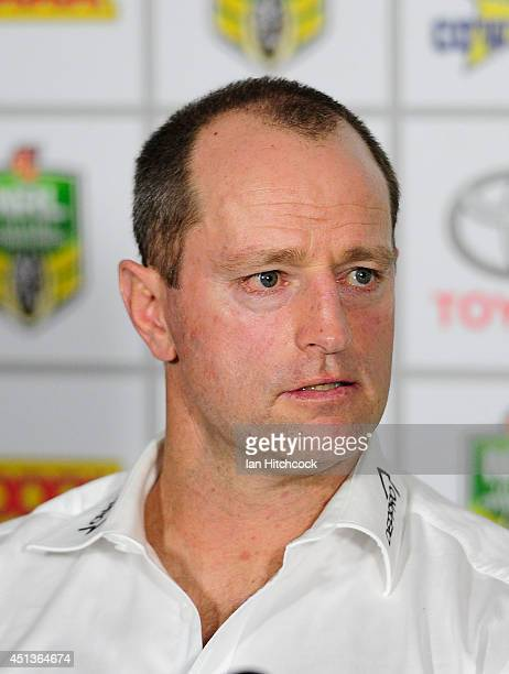 Rabbitohs coach Michael Maguire speaks in the post match press conference during the round 16 NRL match between the North Queensland Cowboys and the...