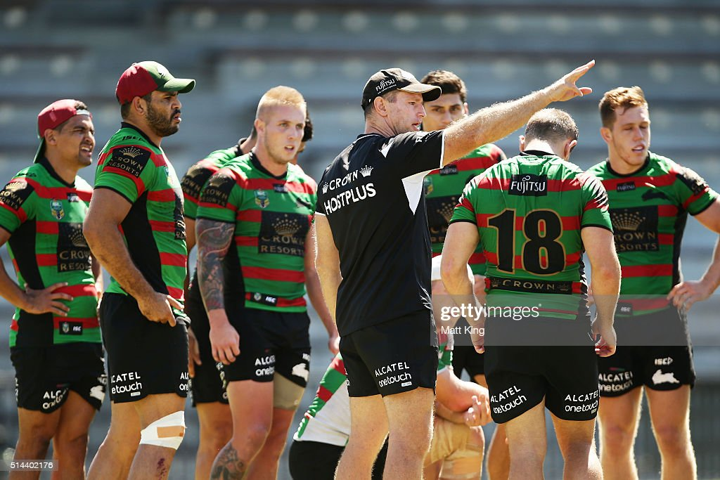 Rabbitohs coach Michael Maguire speaks to players during a South Sydney Rabbitohs NRL training session at Redfern Oval on March 9, 2016 in Sydney, Australia.
