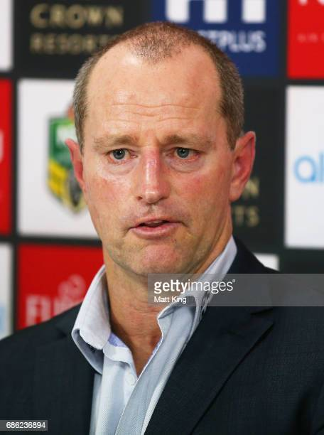 Rabbitohs coach Michael Maguire speaks to the media after the round 11 NRL match between the South Sydney Rabbitohs and the Melbourne Storm at nib...