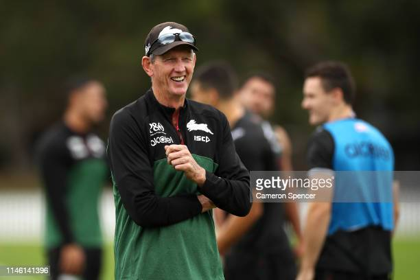 Rabbitohs coach Wayne Bennett laughs during a South Sydney Rabbitohs NRL training session at Erskineville Oval on May 01, 2019 in Sydney, Australia.