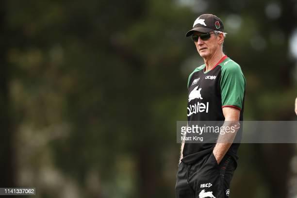 Rabbitohs coach Wayne Bennett looks on during a South Sydney Rabbitohs NRL training session at Redfern Oval on April 09, 2019 in Sydney, Australia.