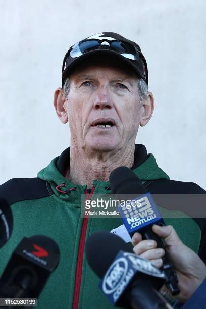 Rabbitohs coach Wayne Bennett talks to media during a South Sydney Rabbitohs NRL training session at Redfern Oval on May 30, 2019 in Sydney,...