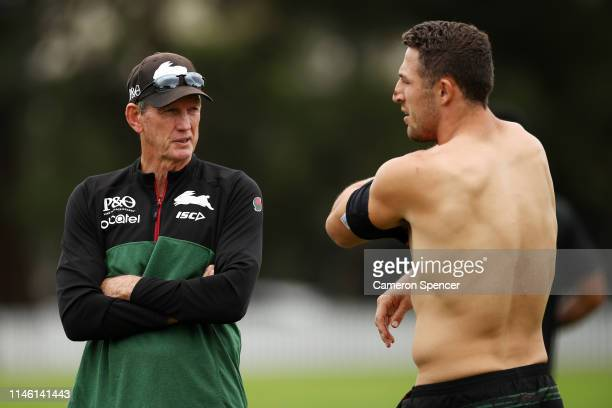 Rabbitohs coach Wayne Bennett talks to Sam Burgess of the Rabbitohs during a South Sydney Rabbitohs NRL training session at Erskineville Oval on May...