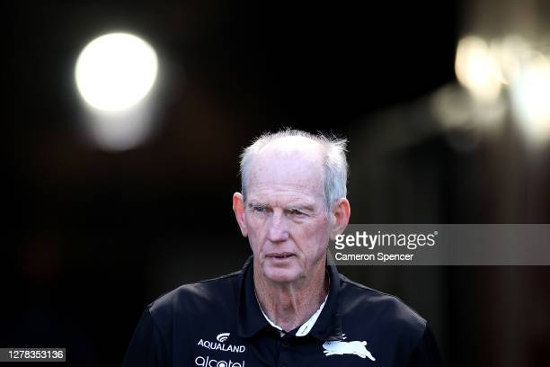 Rabbitohs coach Wayne Bennett walks onto the field during the NRL Elimination Final match between the South Sydney Rabbitohs and the Newcastle...