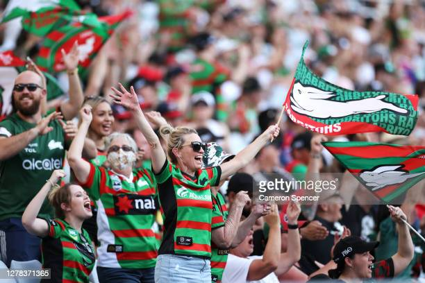Rabbitohs fan enjoys the atmosphere during the NRL Elimination Final match between the South Sydney Rabbitohs and the Newcastle Knights at ANZ...