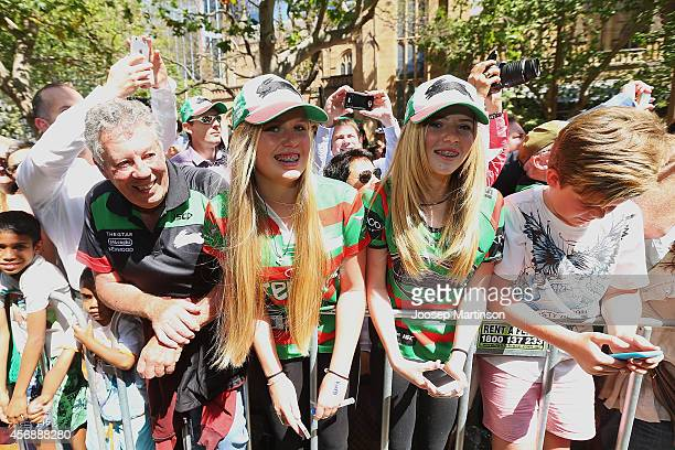 Rabbitohs fans look on during a South Sydney Rabbitohs NRL Grand Final celebration at Sydney Town Hall on October 9 2014 in Sydney Australia