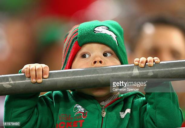 Rabbitohs fans shows his colours during the NRL Preliminary Final match between the South Sydney Rabbitohs and the Manly Warringah Sea Eagles at ANZ...