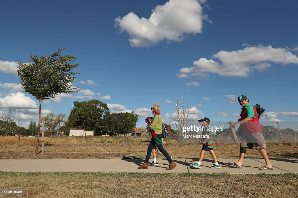 Rabbitohs fans walk to the NRL trial match between the South Sydney Rabbitohs and the St George Illawarra Dragons at Glen Willow Regional Sports Stadium on February 24, 2018 in Mudgee, Australia.
