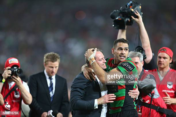 Rabbitohs Greg Inglis and coach Michael Maguire after beating the Bulldogs 30 to 6 during the NRL Grand Final match at ANZ Stadium 2014 Sydney...