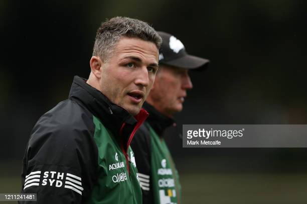 Rabbitohs head coach Wayne Bennett and Sam Burgess talk during a South Sydney Rabbitohs NRL training session at Redfern Oval on March 09, 2020 in...