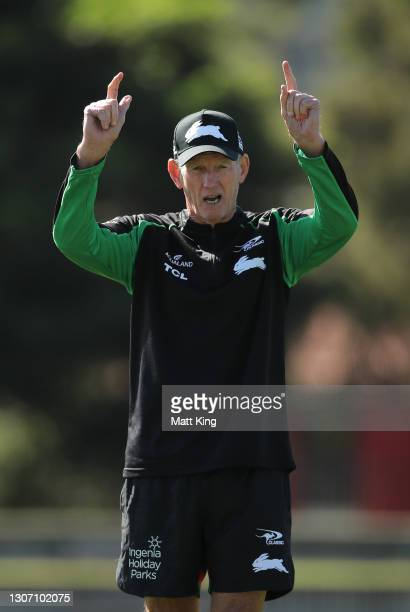 Rabbitohs head coach Wayne Bennett looks on during a South Sydney Rabbitohs NRL training session at Redfern Oval on March 15, 2021 in Sydney,...