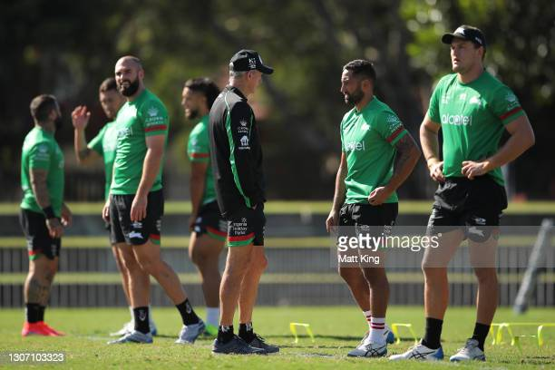 Rabbitohs head coach Wayne Bennett talks to Benji Marshall during a South Sydney Rabbitohs NRL training session at Redfern Oval on March 15, 2021 in...