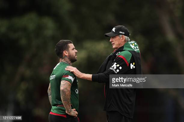 Rabbitohs head coach Wayne Bennett talks to new Rabbitohs captain Adam Reynolds during a South Sydney Rabbitohs NRL training session at Redfern Oval...