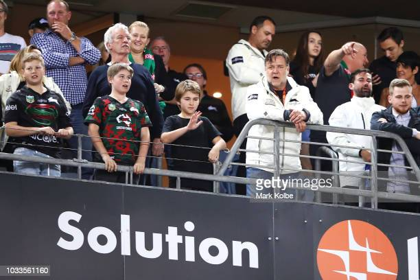 Rabbitohs owner Russell Crowe watches on during the NRL Semi Final match between the South Sydney Rabbitohs and the St George Illawarra Dragons at...