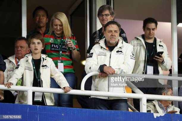 Rabbitohs owner Russell Crowe watches on from the grand stand during the NRL Preliminary Final match between the Sydney Roosters and the South Sydney...