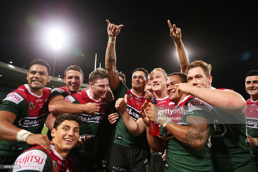 Rabbitohs players acknowledge their fans after victory in the round five NRL match between the St George Illawarra Dragons and the South Sydney Rabbitohs at Sydney Cricket Ground on April 5, 2014 in Sydney, Australia.
