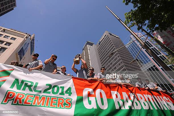 Rabbitohs players arrive to a South Sydney Rabbitohs NRL Grand Final celebration at Sydney Town Hall on October 9 2014 in Sydney Australia