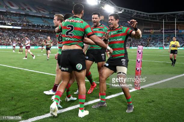 Rabbitohs players celebrate the try scored by Alex Johnston during the NRL Semi Final match between the South Sydney Rabbitohs and the Manly Sea...