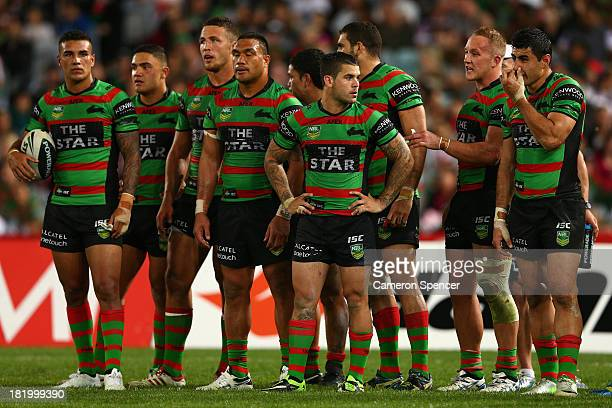 Rabbitohs players look dejected during the NRL Preliminary Final match between the South Sydney Rabbitohs and the Manly Warringah Sea Eagles at ANZ...
