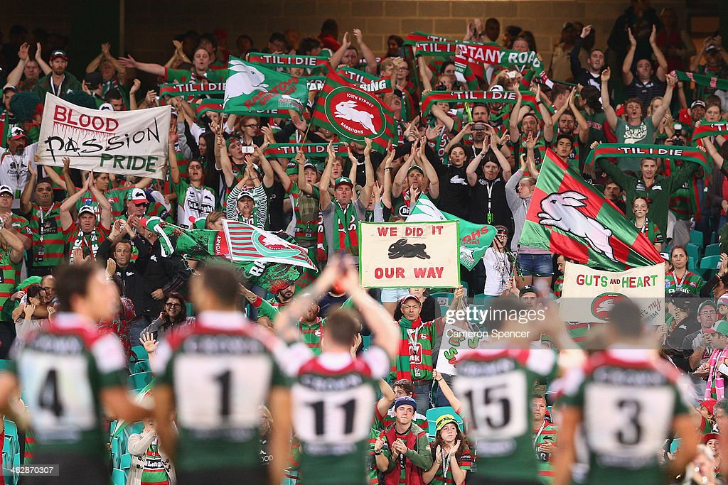 Rabbitohs players thank fans after winning the round five NRL match between the St George Illawarra Dragons and the South Sydney Rabbitohs at Sydney Cricket Ground on April 5, 2014 in Sydney, Australia.