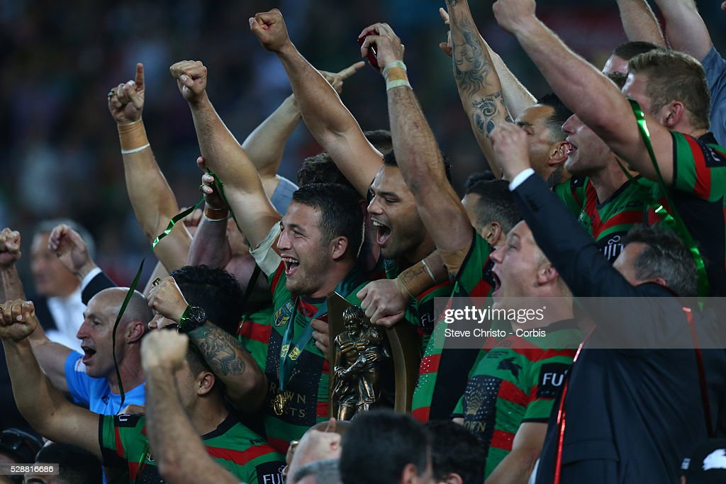 Rabbitohs Sam Burgess Leads The Team In Song After Beating Bulldogs News Photo Getty Images