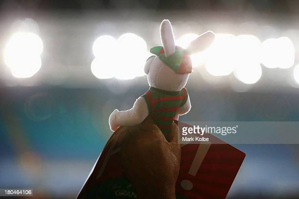 Rabbitohs supporter in the crowd holds up a stuffed Rabbit toy during the NRL Qualifying match between the South Sydney Rabbitohs and the Melbourne...
