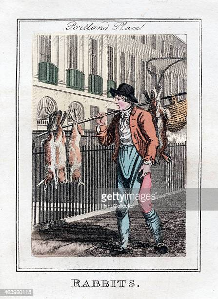 'Rabbits' Portland Place London 1805 A copper plate representing the itinerant traders of London from Modern London Being the History and Present...