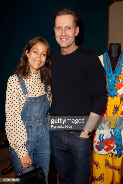 Rabea Schif and Marco Stein during the celebration of 'Der Berliner Salon' by KaDeWe Vogue at KaDeWe on January 18 2018 in Berlin Germany
