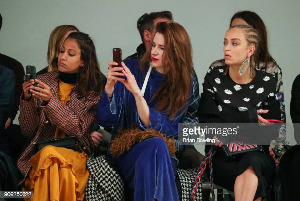 Rabea Schif Julia Malik and Caro Cult attend Odeeh Defile during 'Der Berliner Salon' AW 18/19 on January 17 2018 in Berlin Germany
