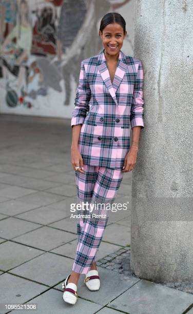 Rabea Schif wearing a Jake*s suit at the Instyle Lounge Closing Cocktail during the Fashion Week Berlin Autumn/Winter 2019 at Cafe Moskau on January...