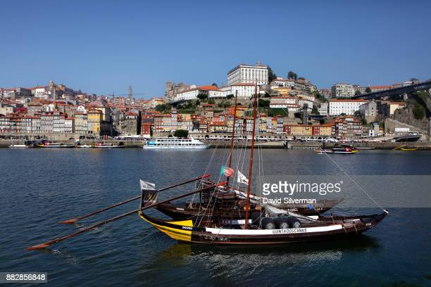 Rabelo boat a traditional Portuguese wooden cargo boats used for centuries to transport people and goods along the Douro River is seen on the...