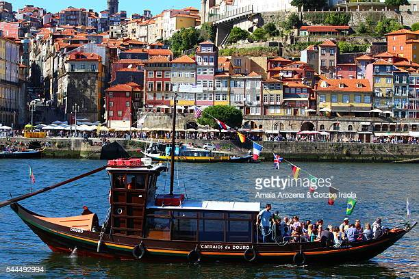 Rabelo boats and Ribeira district in Porto from Vila Nova de Gaia
