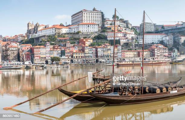 Rabelo boats moored in Douro River