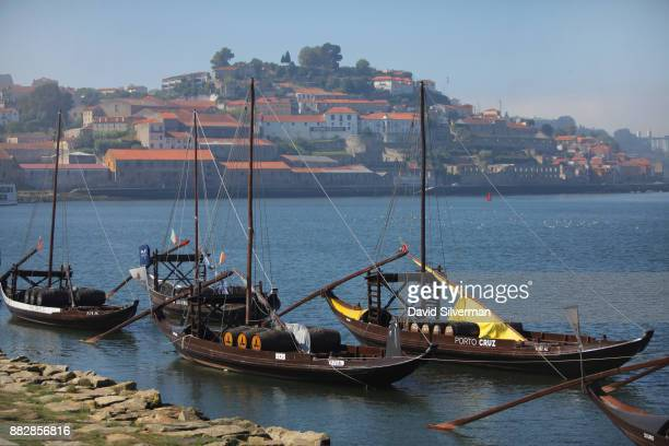 Rabelo boats traditional Portuguese wooden cargo boats that were used for centuries to transport people and goods along the Douro River are seen on...