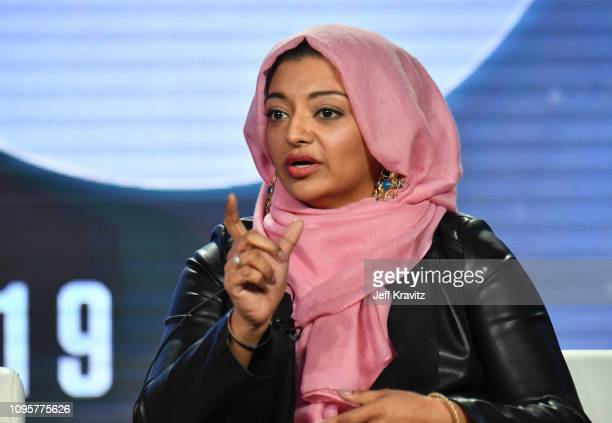 Rabia Chaudry speaks onstage during The Case of Adnan Syed panel of the HBO portion of the 2019 Winter TCA on February 8 2019 in Pasadena California