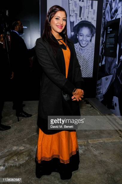 Rabia Clarke attends a private view of Mandela The Official Exhibition at 26 Leake Street on February 07 2019 in London England
