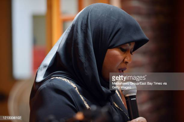 Rabi'a Keeble, founder of the Qal'bu Maryam women's mosque, speaks during a dedication ceremony for the mosque in Berkeley, Calif. On Friday, April...
