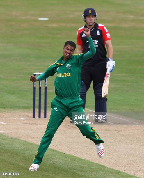 Rabian Engelbrecht of South Africa celebrates after taking the wicket of Adam Rossington during the one day International match between England under...