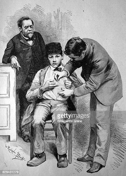 Rabies vaccination by professor pasteur in paris france historical illustration circa 1886