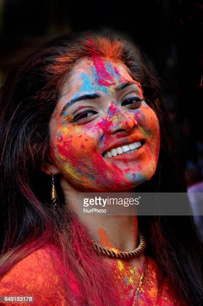 Rabindra Bharati University Students celebrating Basanta Utsav and Holi Color Festival at the Jorasanko Rabindra Bharati University campus on March...
